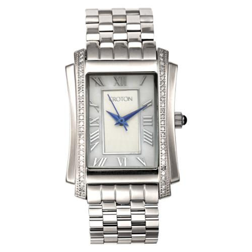 Croton Women's CN207481SSMP Stainless Steel Silvertone Diamond Case MOP Dial Watch
