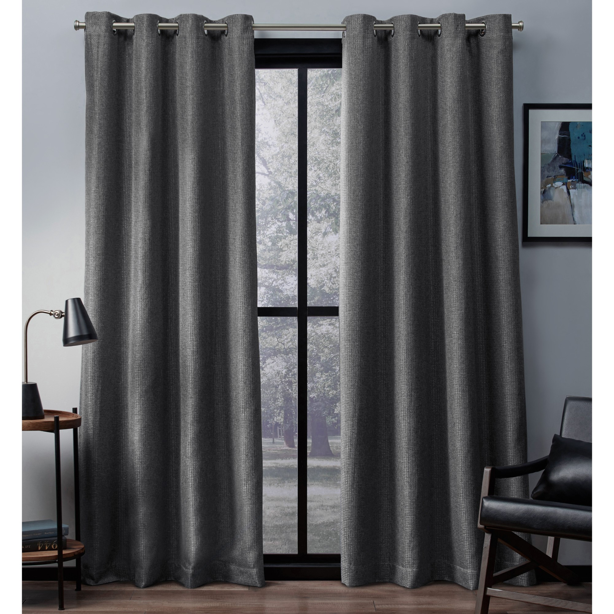 Exclusive Home Eglinton Woven Blackout Window Curtain Panel Pair with Grommet Top
