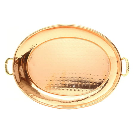 Brass Tone Communion Tray (Hammered Décor Copper Oval Tray with Cast Brass)
