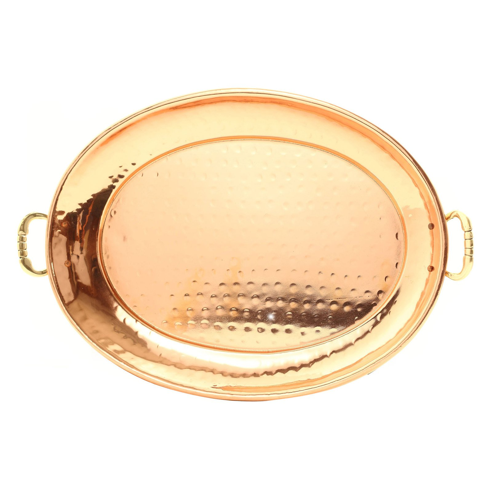 Hammered Décor Copper Oval Tray with Cast Brass Handles