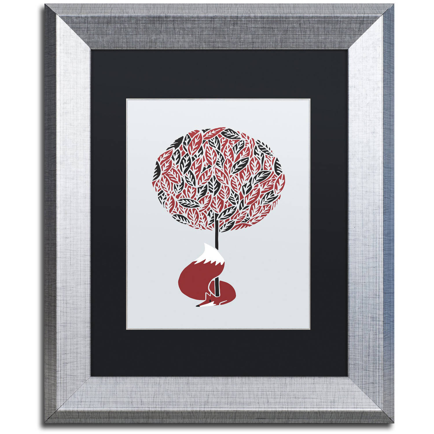 Trademark Fine Art 'Cherry Tree Fox' Canvas Art by Robert Farkas, Black Matte, Silver Frame