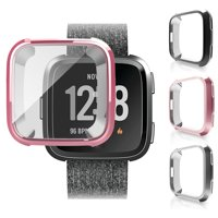 TSV Silicone Protective TPU Shell Case Screen Protector Frame Cover For Fitbit Versa
