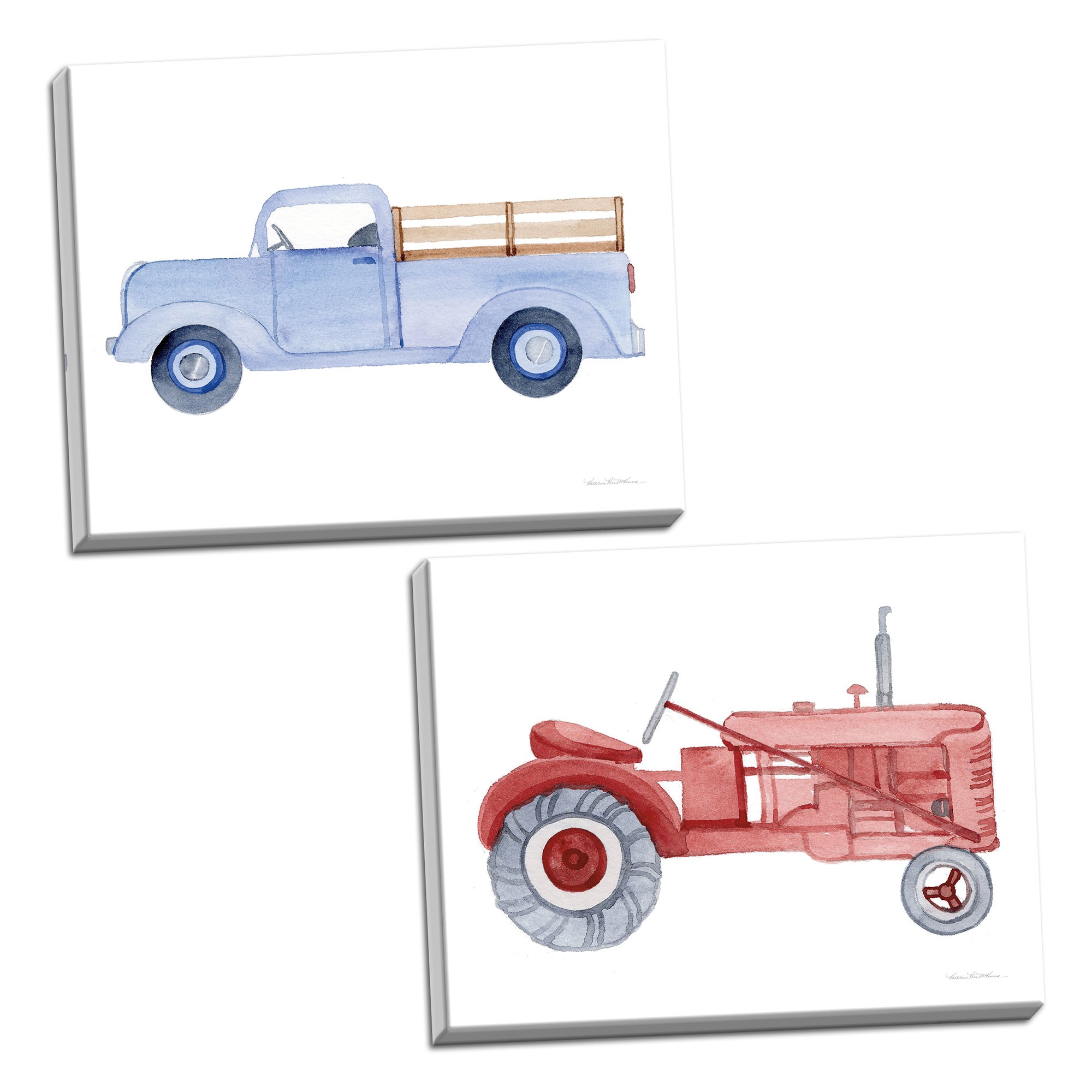 Gango Home Decor Cottage Life on the Farm Tractor Element & Life on the  Farm Truck Element by Kathleen Parr McKenna Ready to Hang; Two 32x32in ...