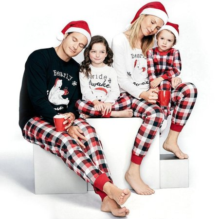Family Matching Christmas Pajamas PJs Sets Kids Parents Sleepwear Nightwear Baby 70-100 Kids 2-5T Adult S-XL
