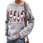 Women Christmas Sweatshirt Long Sleeve Pullover Sweater Jumper Tops Hoodie