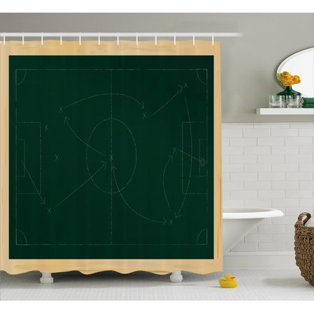 Soccer Shower Curtain, Tactic Diagram with Pass and Goal Arrangement Attacking Defending Chalkboard, Fabric Bathroom Set with Hooks, 69W X 70L Inches, Dark Green Beige, by - Bathroom Passes