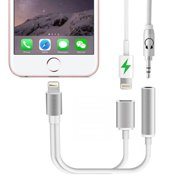 iPhone 7 Adapter & Splitter, GOOPRO 2 in 1 Dual Lightning Headphone Adapter&Charge Adapter for iPhone 7/7 Plus(Suport iOS 10.3 but not iOS 11),Silver