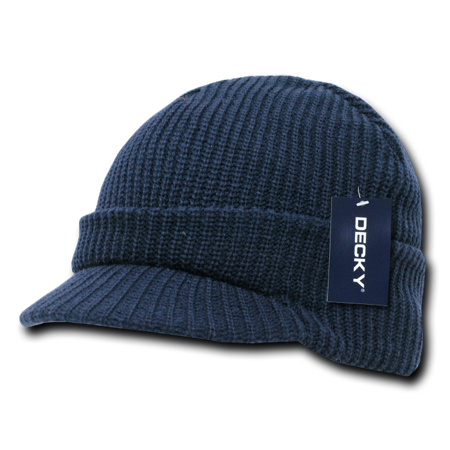 GI Jeep Beanies Beany For Men Women Caps Hats with Visor Ski Thick Warm Winter Crocheted - Navy ()