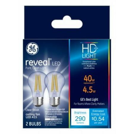 Ge Led 4w Hd Reveal A15 Ceiling Fan Clear Finish Medium Base Dimmable 2pk Light Bulbs