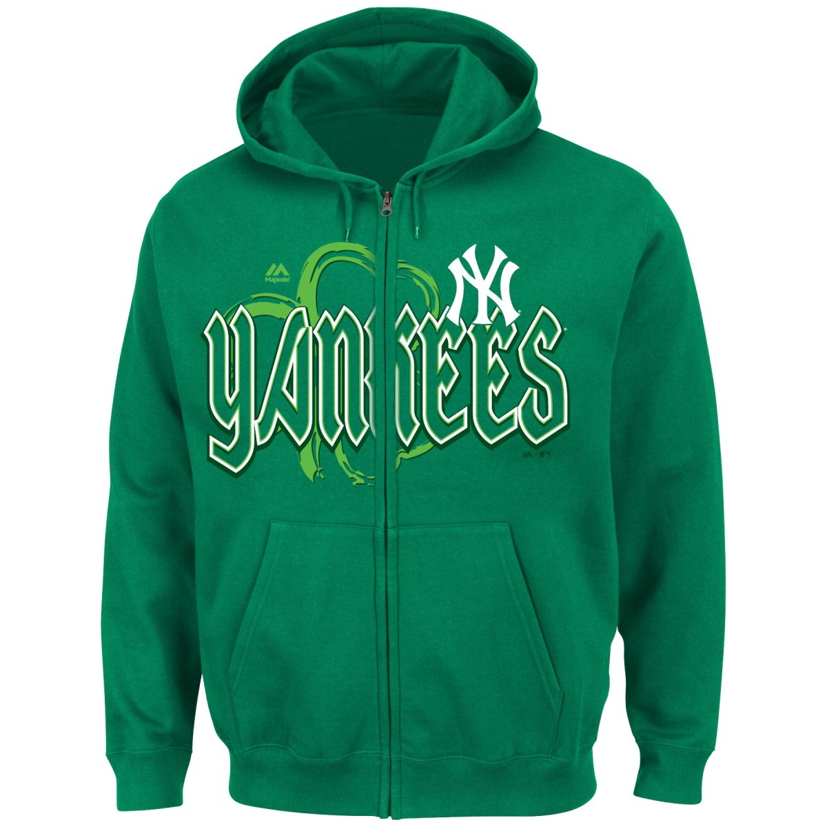 "New York Yankees Majestic MLB ""Lucky Season"" Full Zip Hooded Sweatshirt - Green"