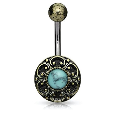 BodyJ4You® Belly Ring Button Navel Bar Antique Shield Filigree Edge Turquoise Stone Piercing Jewelry (Navel Shield)