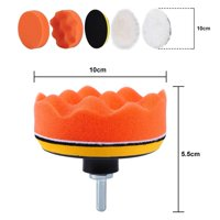 LAFGUR 6Pcs Polisher Buffer Pad Set + M10 Drill Adapter Car Polishing Wax, 4 High Gross Polishing Waxing Buffing Pad