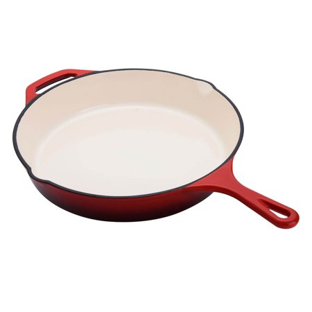 Hamilton Beach 12 Inch Enameled Coated Solid Cast Iron Frying Pan Skillet, Red