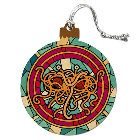 Flying Spaghetti Monster Stained Glass Wood Christmas Tree Holiday Ornament](Stained Glass Ornaments)