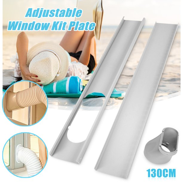 2Pcs Window Slide Kit Plate + Window Adaptor For Portable Air Conditioner Exhaust Hose