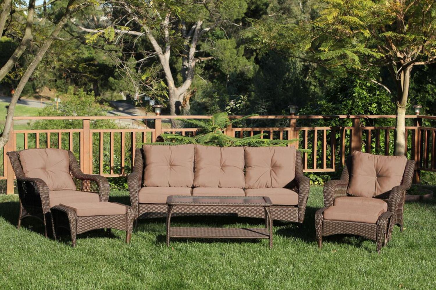 6 Piece Espresso Resin Wicker Outdoor Patio Seating Furniture Set   Brown  Cushions