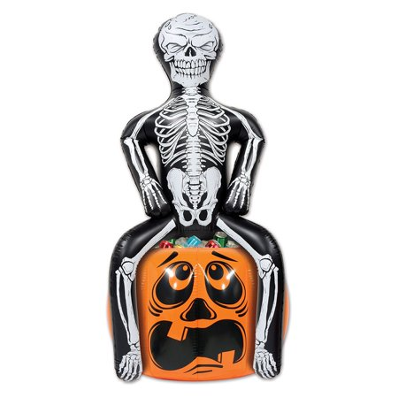 Dry Ice Pumpkin Halloween (Pack of 6 Inflatable Skeleton Party Pooper on Pumpkin Halloween Cooler)