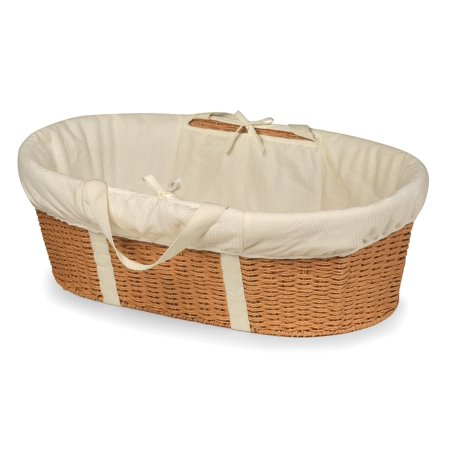 Badger Basket Wicker-Look Woven Baby Moses Basket with Bedding - -