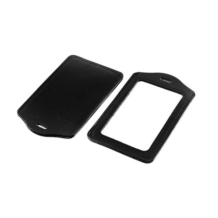 Unique Bargains Vertical Type Name ID Card Holders Clear Black 2Pcs - Birdcage Card Holder