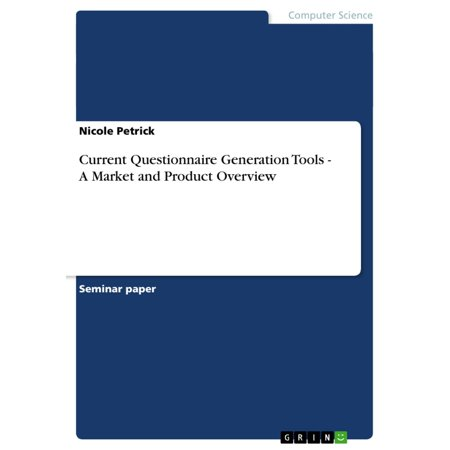 Current Questionnaire Generation Tools - A Market and Product Overview - eBook