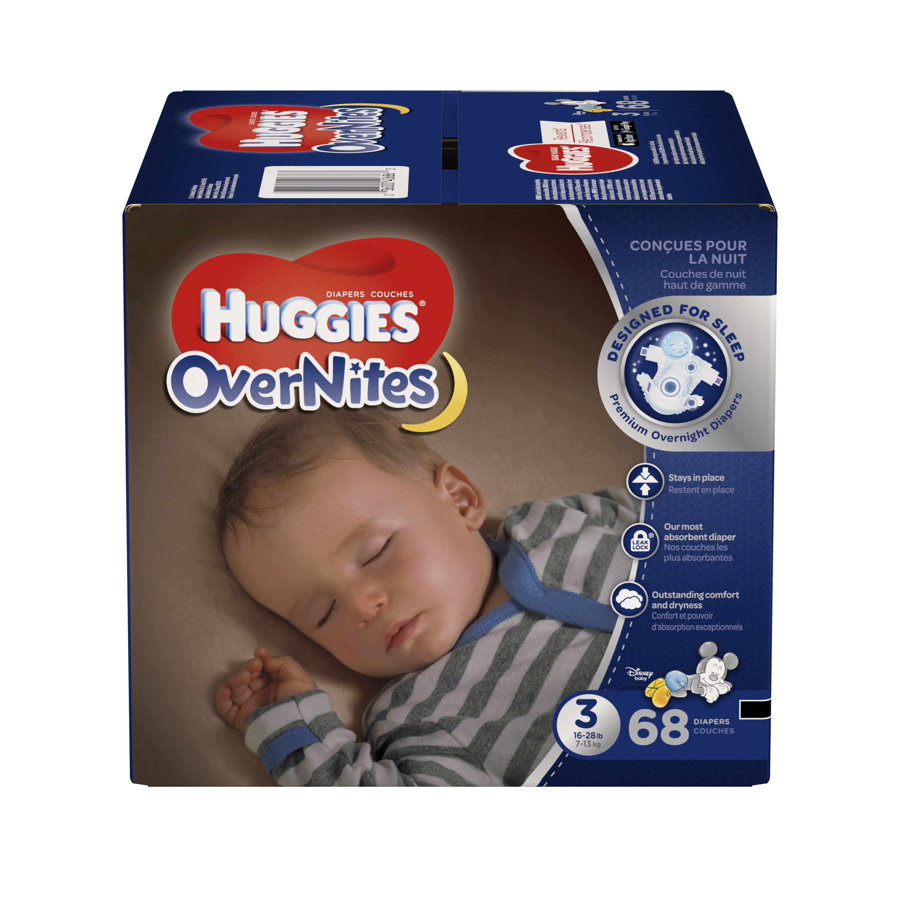 HUGGIES OverNites Diapers, Size 3, 68 Diapers