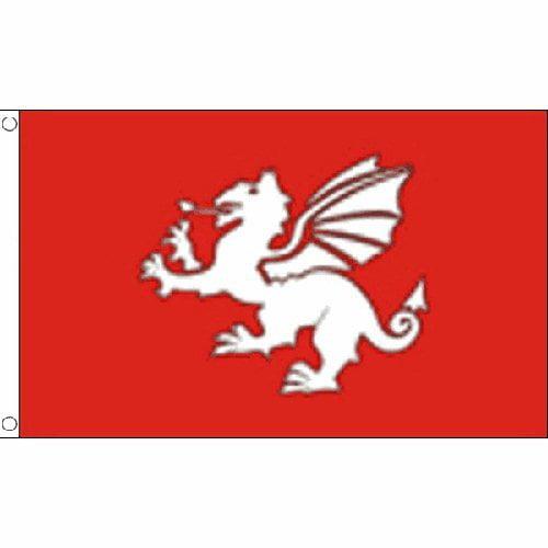 DEYOU English White Dragon Flag 3x5 Feet Banner Flag