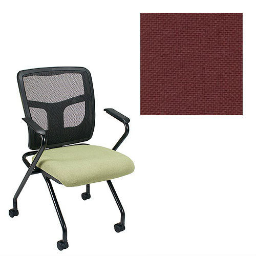 Office Master Yes Collection YS70N Ergonomic Nesting Chair - Fixed Standard Armrests - Black Mesh Back - Grade 1 Fabric - Basic Burgundy 1013 PLUS Free Ergonomics eBook