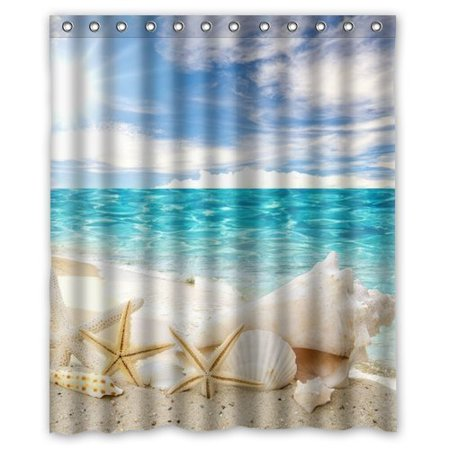 GreenDecor Seashell Waterproof Shower Curtain Set with Hooks Bathroom Accessories Size 60x72 inches (Seashell Shower Curtain)