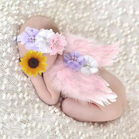 Cute Newborn Baby Boy Girl Kid Feather Lace Diamond Headband  Angel Wings Photo Props Pink 24x14cm](Baby Angel Wings)