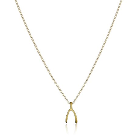 Dogeared Reminder Wishbone Gold Chain Necklace - MG1627 Dogeared Leather Necklace