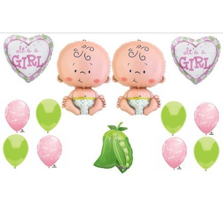 Two Peas in a Pod Twin Baby GIRLS shower Balloon Decorating Kit Supplies by Anagram