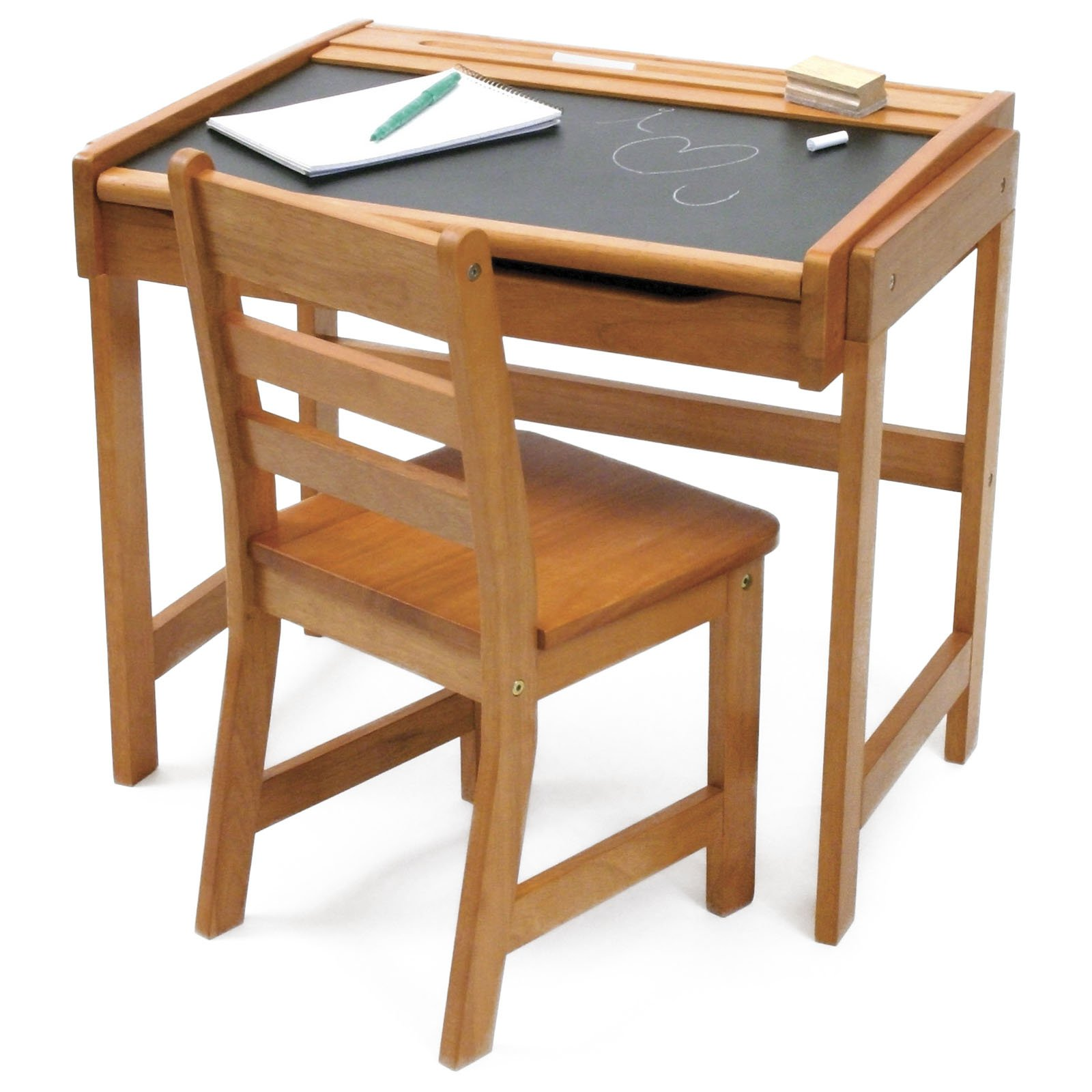 Desk With Chalkboard and Chair Pecan Finish Walmart