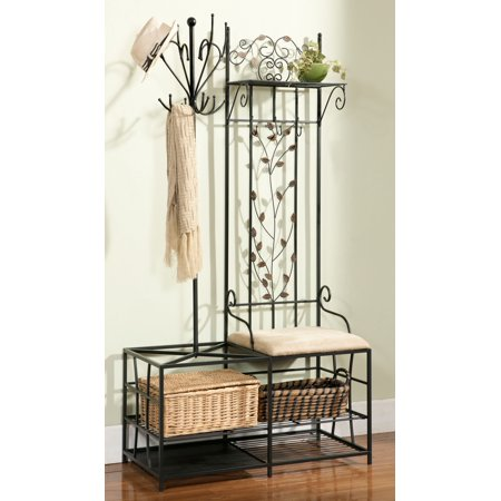 Baylen Black Metal Entryway 12 Hook Coat & Hat Rack Hall Tree Stand Organizer Display With Storage Shelves, Bench & Umbrella (Hall Of Metal)