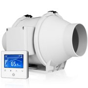 """iPower 220 CFM Centrifugal Inline Duct Temperature Humidity Variable Speed Controller, Quiet HVAC Ventilation Exhaust Blower Fan, 4"""", White"""