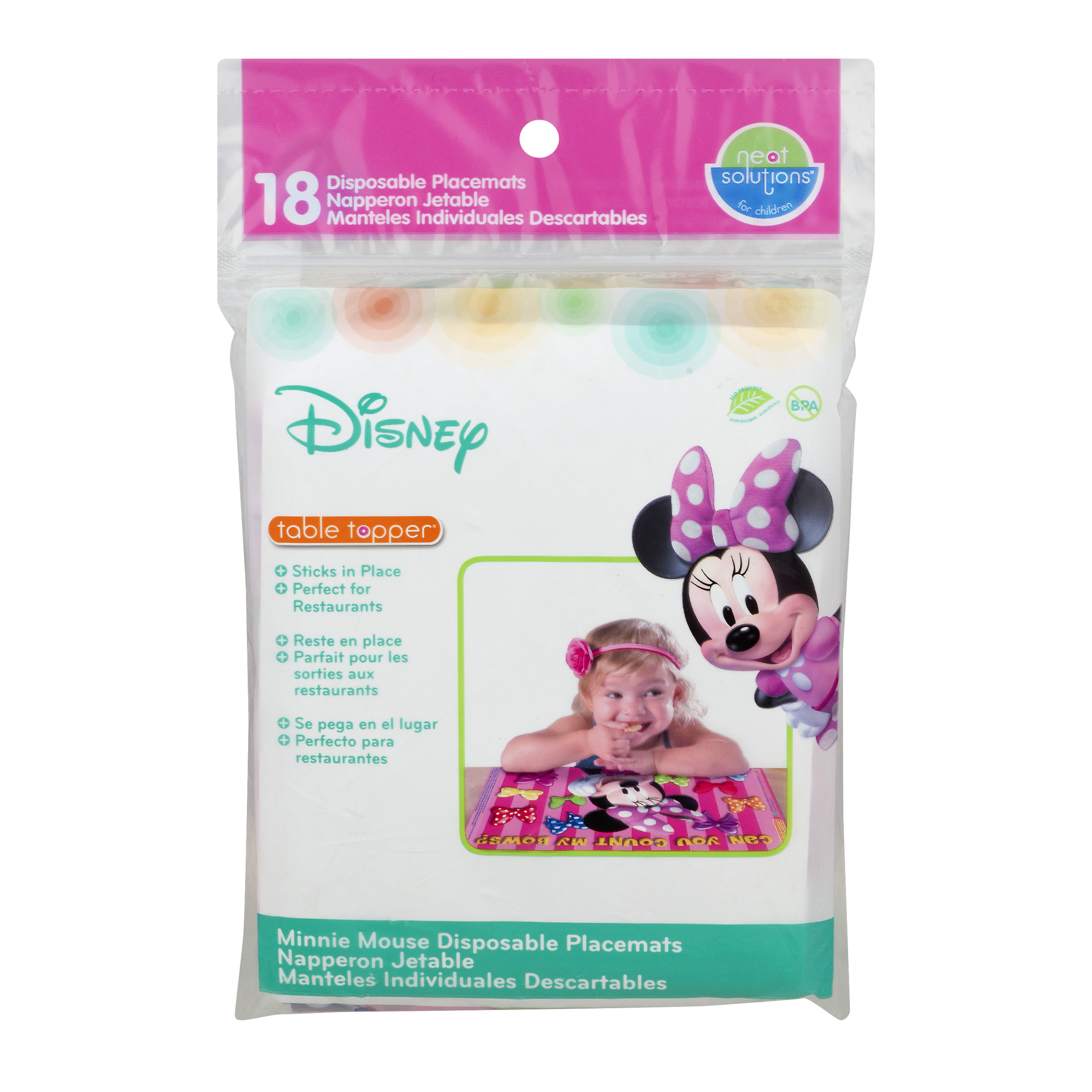 Neat Solutions Minnie Mouse Clubhouse Table Topper Disposable Stick-On Placemats, 18-Count