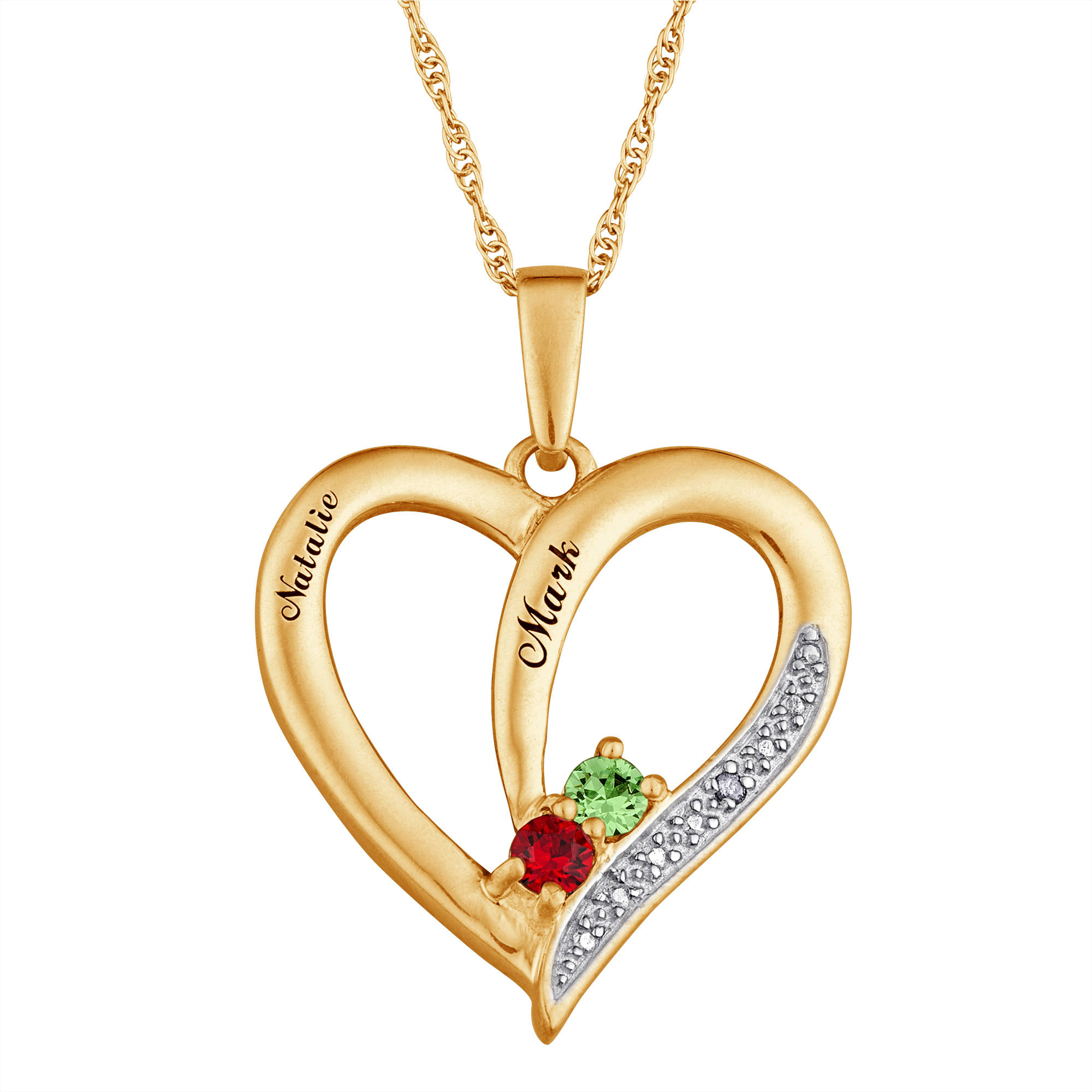 Personalized Couple's Birthstone with Diamond 10kt Gold Heart Pendant, 20""
