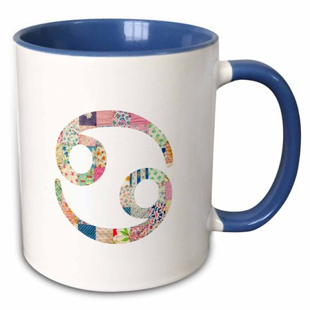 (3dRose Cancer symbol colorful girly design - Cancerian horoscope zodiac sign - Two Tone Blue Mug, 11-ounce)