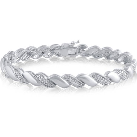 Diamond Accent Silver-Tone Fashion Bracelet, 7.50""