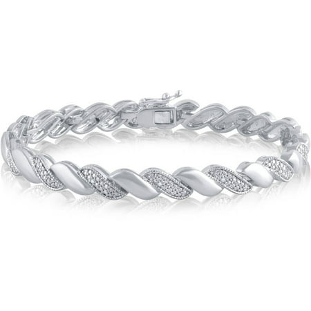 Diamond Accent Silver-Tone Fashion Bracelet, 7.50