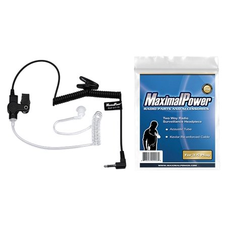 MaximalPower RHF 617_1N 3.5mm RECEIVER_LISTEN ONLY Surveillance Headset Earpiece with Clear Acoustic Coil Tube Earbud Audio K