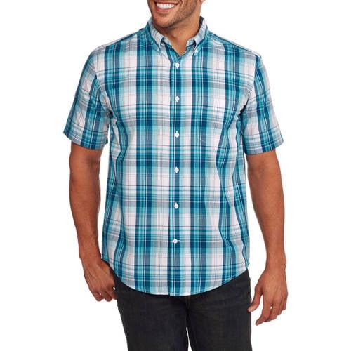 GEORGE - Men's Short Sleeve plaid Casual Button Down shirt - Walmart.com -  Walmart.com