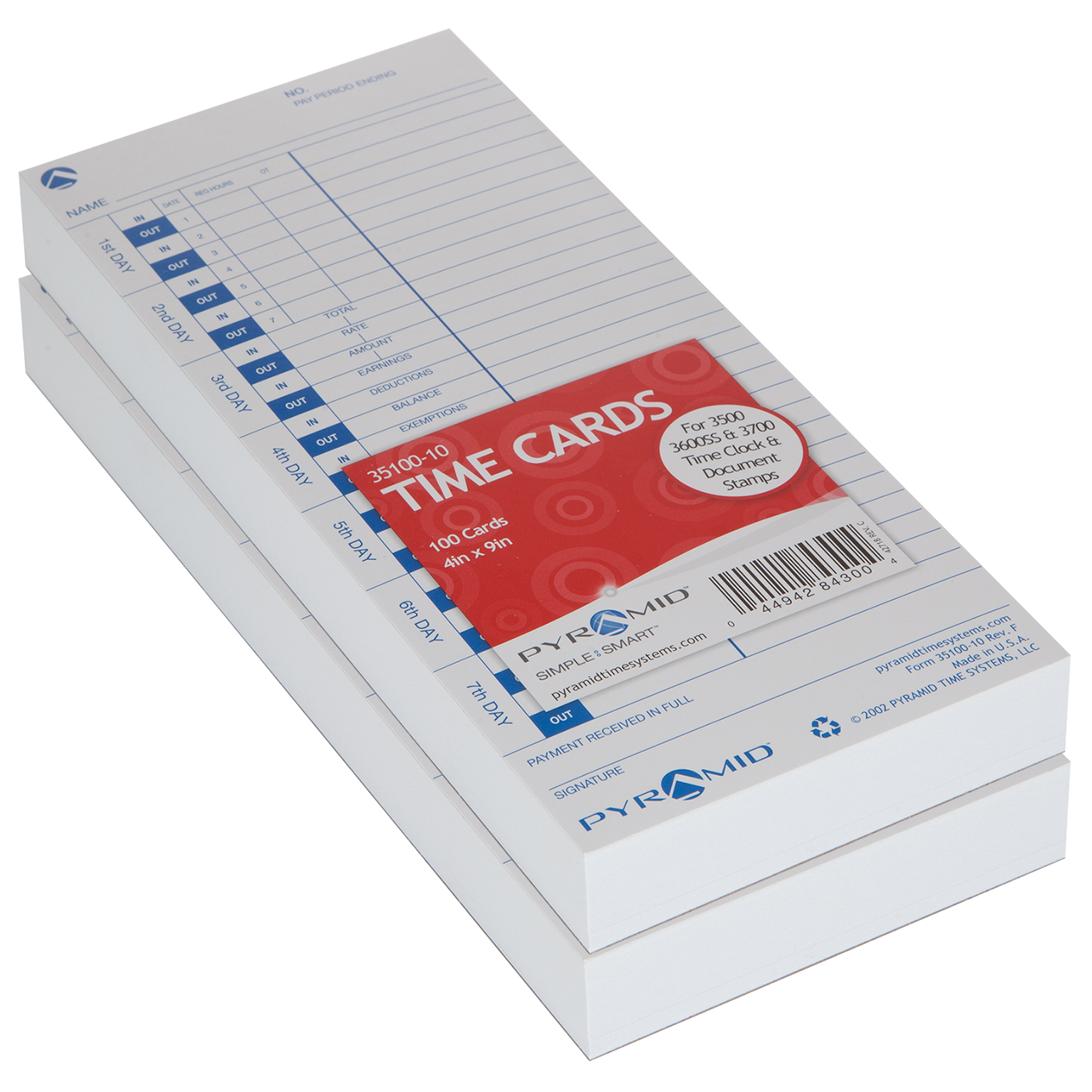 Pyramid 35100-10 Genuine Time Cards for Side-Loading Time Clocks, 200/pk