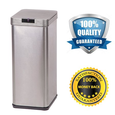 Trash Can 13 Gallon Automatic Sensor Touch Free Stainless Steel Bin