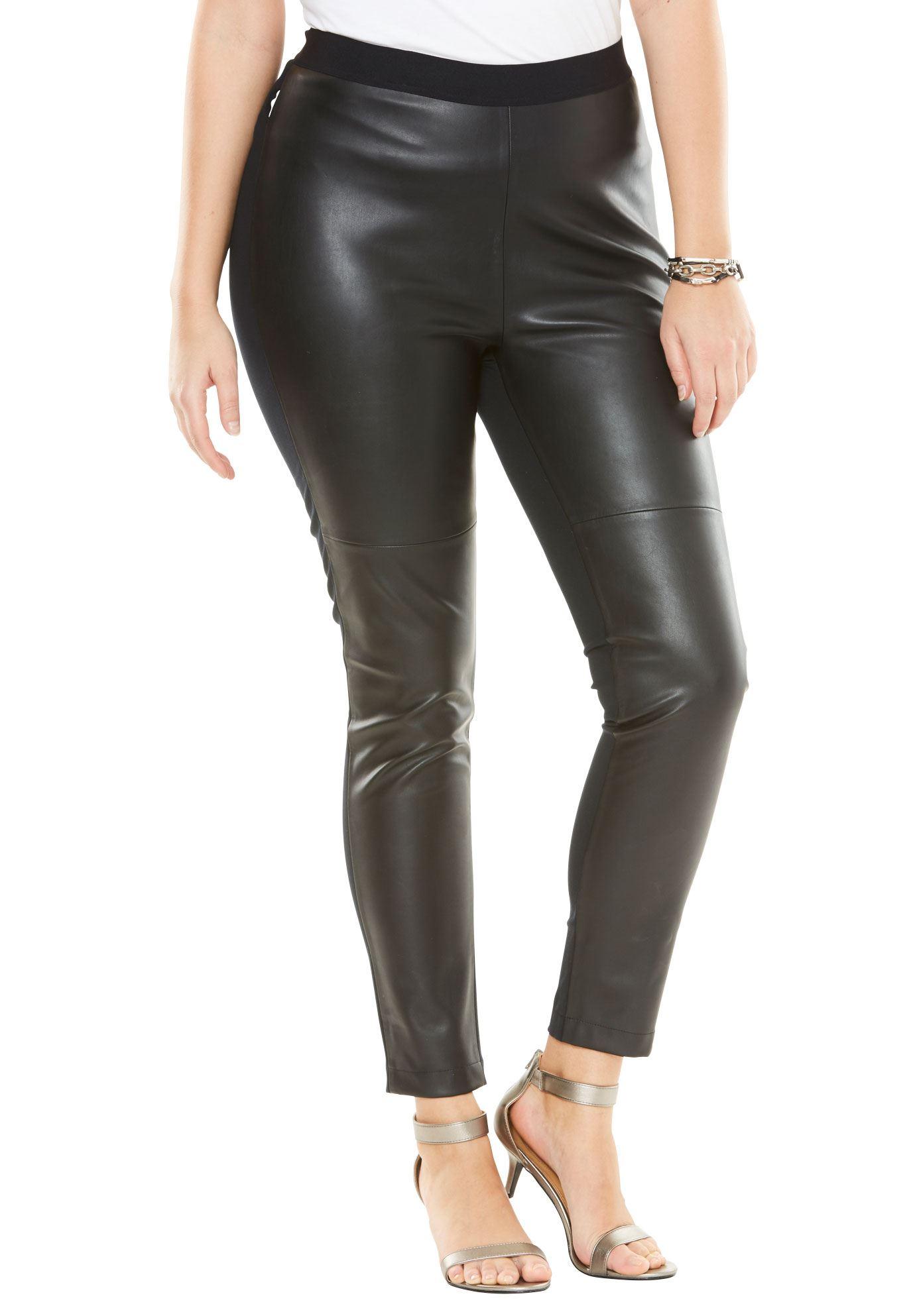 Roaman's Plus Size Faux Leather Legging