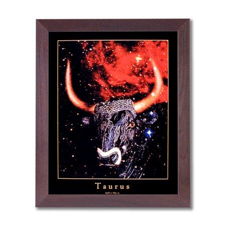 Cancer Zodiac Frame (Taurus Bull Horn Zodiac Sign Astrology Wall Picture Cherry Framed Art)