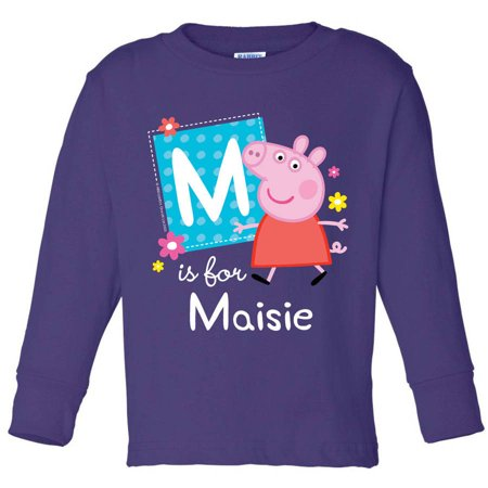 Personalized Peppa Pig Alphabet Toddler Girl Purple Long Sleeve Tee for $<!---->