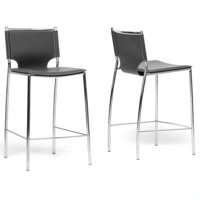 Montclare Leather Modern Counter-Height Stool, Set of 2, Black