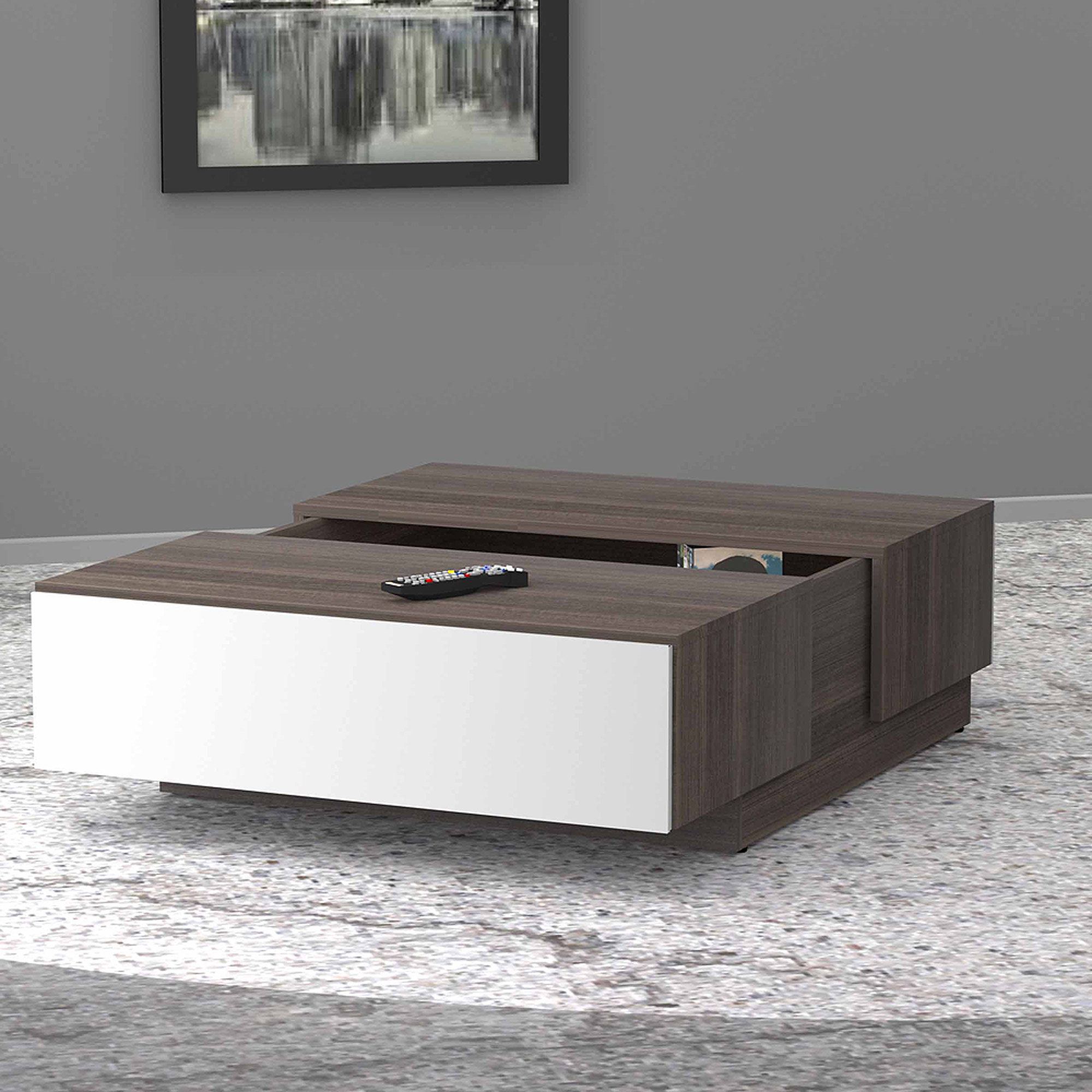 Nexera Allure Coffee Table with Hidden Storage, White/Ebony
