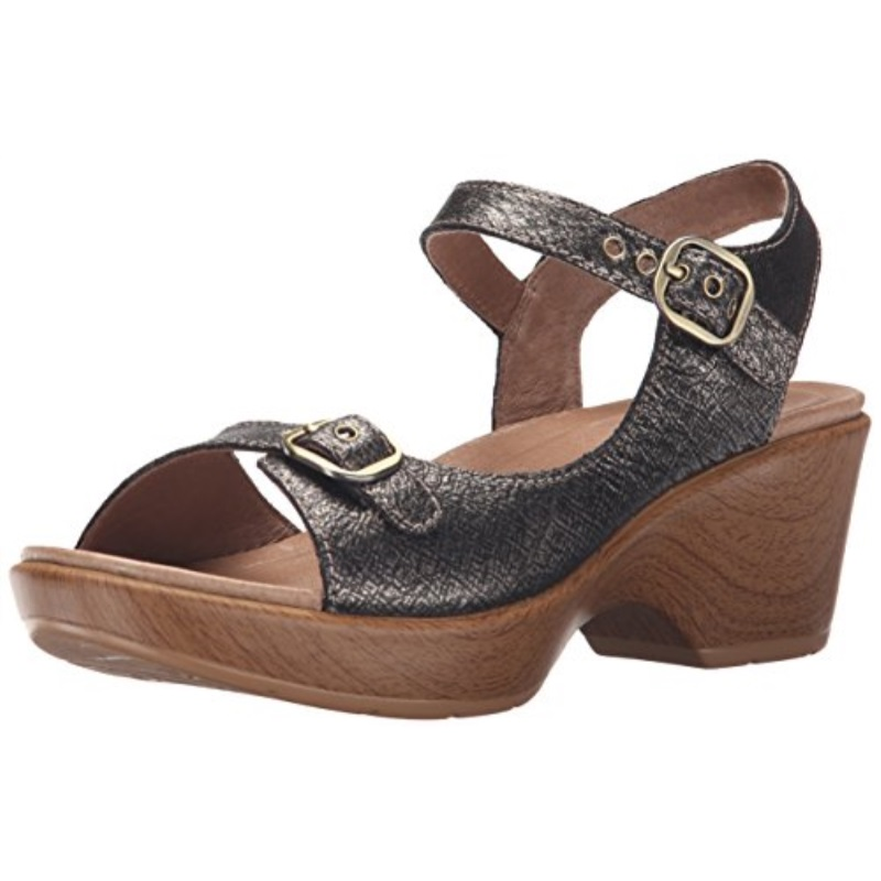 Dansko Women's Joanie Wedge Sandal, Pewter Burnished Metallic, 39 EU/8.5-9 M US