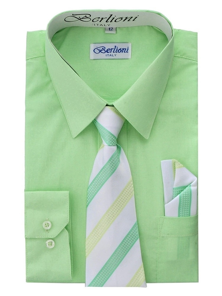 Berlioni Kids Boys Long Sleeve Dress Shirt With Tie and Hanky Lime